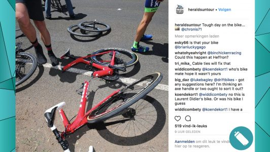 Trek-fiets breekt volledig in tweeën in Herald Sun Tour