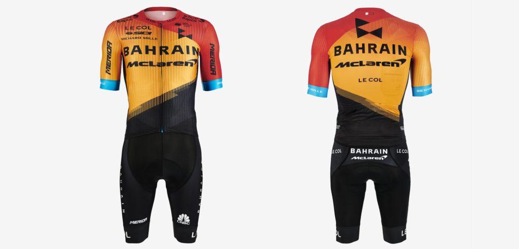 Het tenue van wielerploeg Bahrain McLaren voor het seizoen 2020.