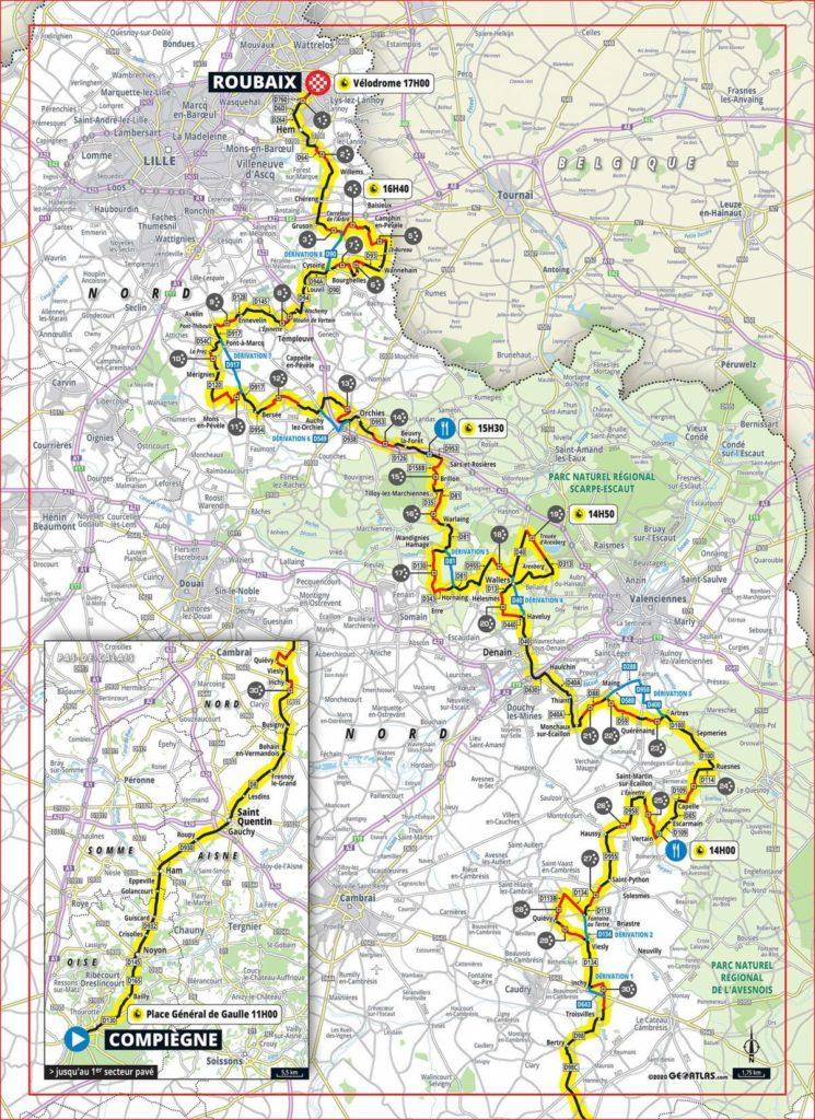 Dit is het parcours van Parijs-Roubaix 2020